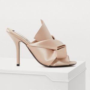No. 21 pleated satin mule heels